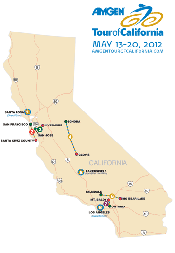 Route specifics disclosed for 2012 Amgen Tour of California Biking Bis