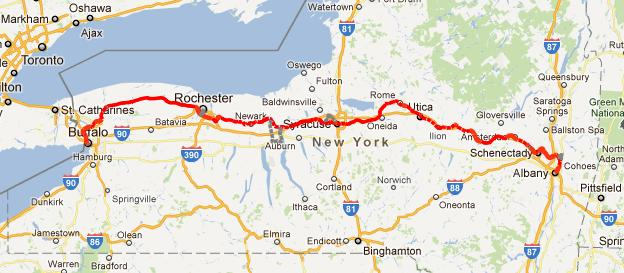 December Biking Bis - Erie canal on map of us