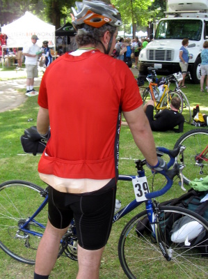 A cycling jersey designed by a Seattle area man is the butt of a lot of  jokes on long bicycle rides. 7e651efd8