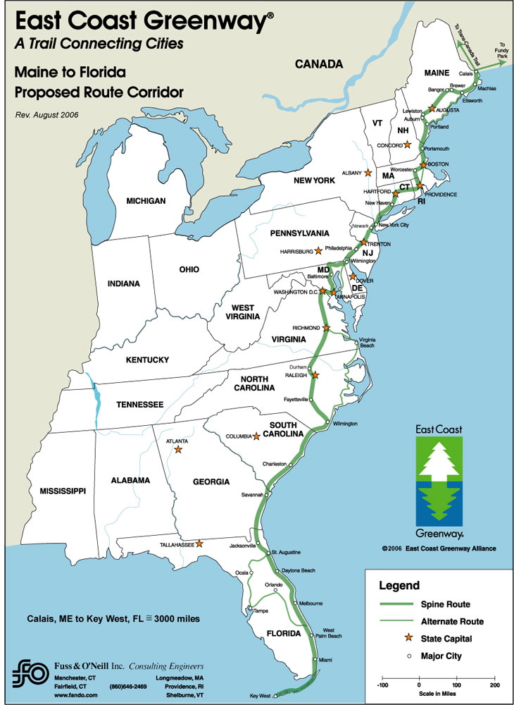... an off-road bicycle route from Maine to Florida. East Coast Greenway