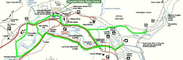 Touring around Yosemite Valley on your bicycle Biking Bis – Yosemite Tourist Map