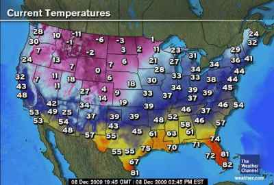 Weather Map Us Temperatures - Us map weather temperature