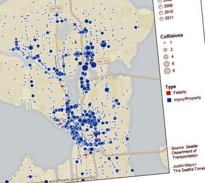 Seattle map shows 5-year span of traffic-related bike ... on seattle subway system route map, seattle demographics map, seattle to spokane map, seattle concourse map, seattle toll road map, seattle police map, seattle storm drain map, seattle airspace map, seattle climate map, seattle water supply map, seattle heat map, seattle mountain map, seattle airport location map, seattle highway map, seattle metro tunnel map, seattle walkability map, seattle express lanes map, seattle pride parade map, seattle street map with attractions,
