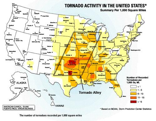 Tornado risk map from NOAA – Biking Bis