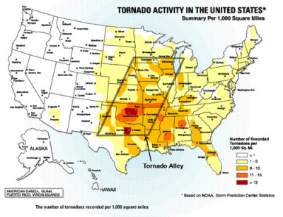 tornado alley map. so-called Tornado Alley.