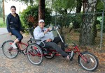 Tandem workout bike for disabled cyclists