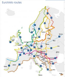 14 bicycle routes in the EuroVelo network
