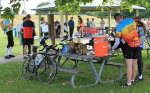 Cyclist on cross-country charity bike ride stop at Marymoor Park