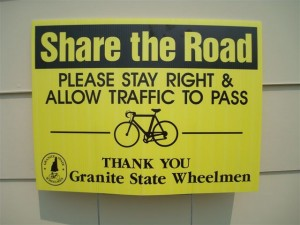 Sign along the bike route