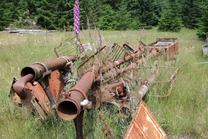 Scraped railway equipment in storage yard on JWP Trail.