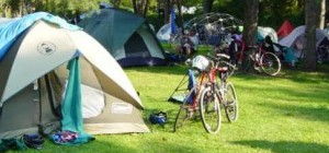 Bike tour sets up in a Washington state park