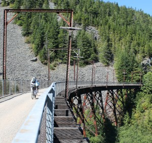 Bicyclists get stunning views from trestles on John Wayne Pioneer Trail.