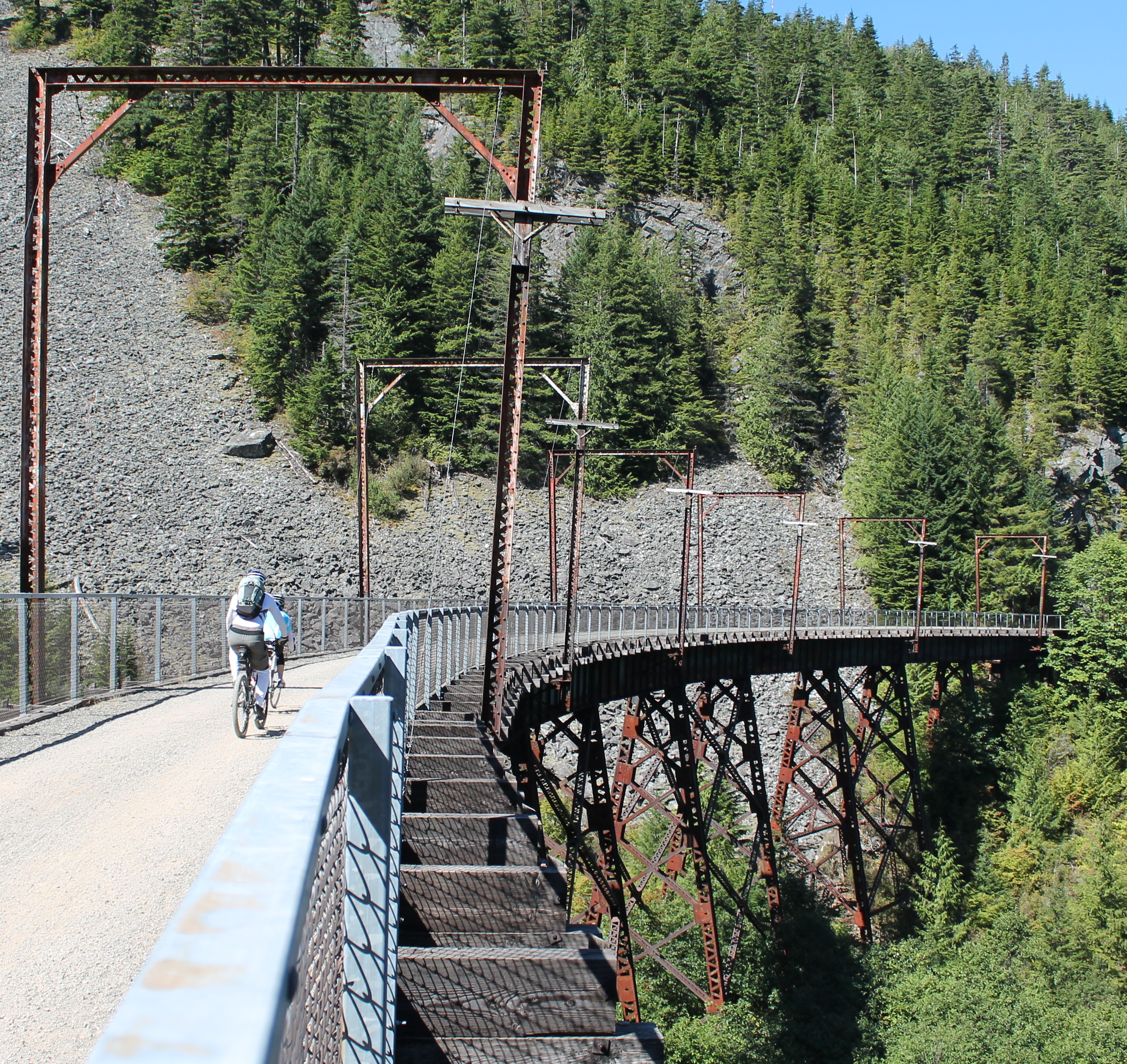 10 longest rail trails for bicycling john wayne pioneer trail in bicyclists get stunning views from trestles on john wayne pioneer trail publicscrutiny Image collections