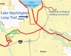 Future trail links Lake Washington and Cedar River routes in Renton
