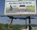 "A billboard in Cincinnati where ""3 feet"" is the law."