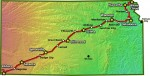 Route for 2014 Biking Across Kansas