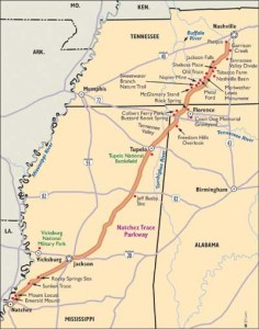 Map of Natchez Trail Parkway