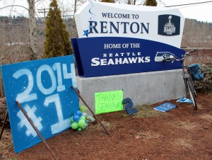 Signs welcomed home Seattle Seahawks.