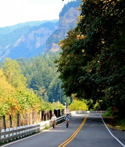 Bicyclists on Historic Columbia Gorge Highway