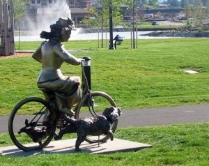 Statue of early 20th century bicyclist