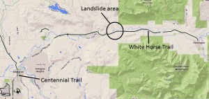 Area of landslide and Whitehorse Trail