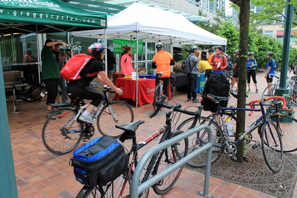 Busy bike station in Bellevue