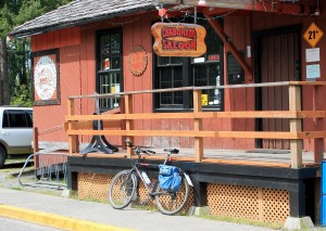 Bike rack outside the historic Carbonado Saloon