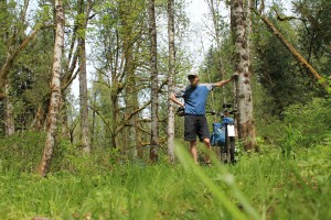 That's me pausing on a grassy trail new Wilkeson Creek.