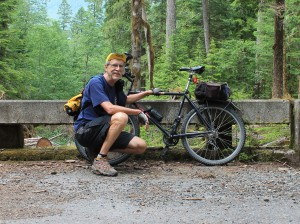 Posing at Carbon River Road at Mount Rainier National Park