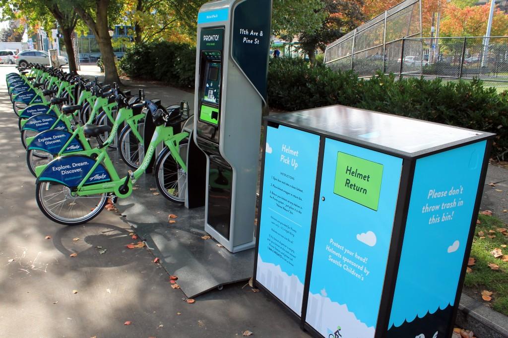 Bikes awaiting riders at Cal Anderson Park