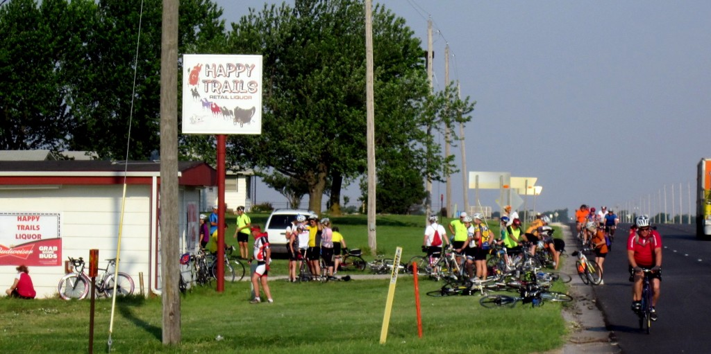 Biking Across Kansas bike tour stops at Happy Trails