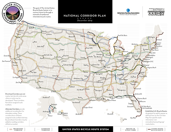 Approved bicycle routes in bold