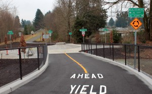 A round-about marks the junction of two trails in Lacey