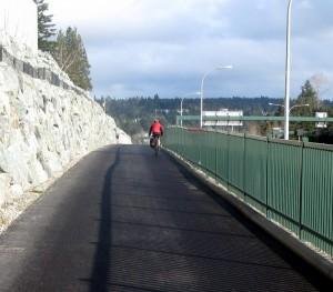 Cyclist on SR 520 bike path
