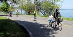 Families riding bikes on Bicycle Sunday