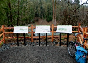 Interpretive signs overlook at Cedar River