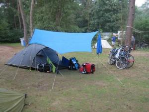 Tarp-tent bike camping set  up from  Hendrik Christenhusz