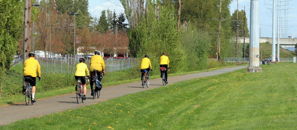 Prepared for rain on a spring ride on Interurban Trail (south)