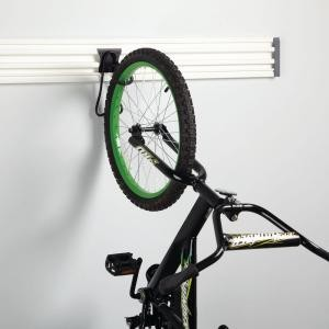 Bike hanging from Husky bike hook