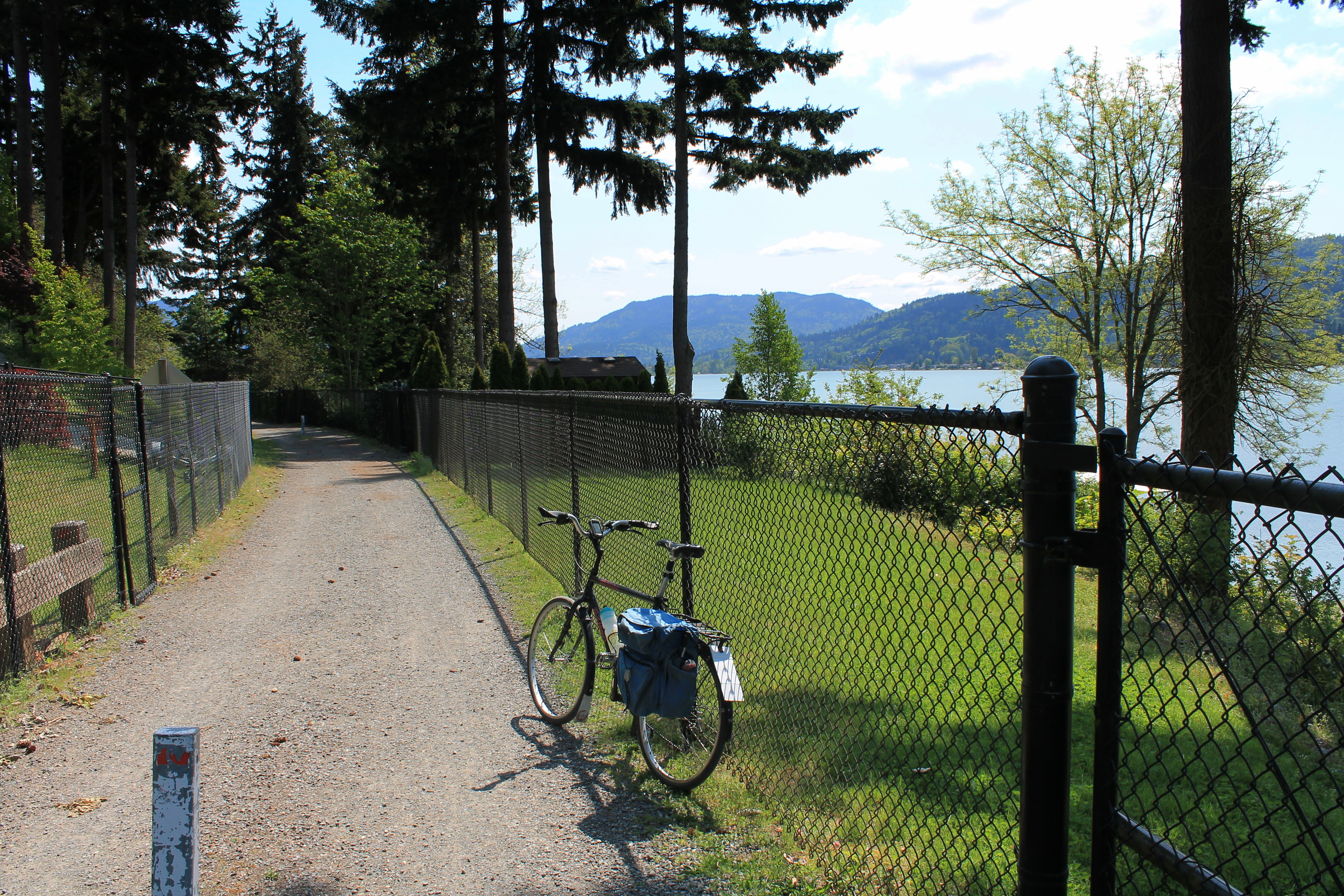 Water and mountain views from East Lake Sammamish Trail