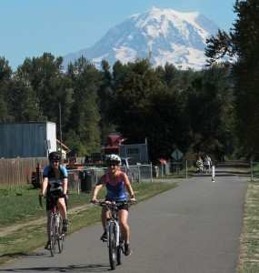 Mount Rainier looms over trail