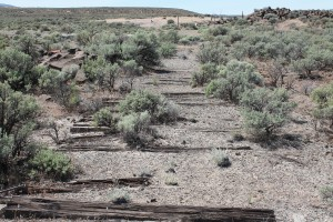 Dry climate preserves railroad ties in the soil at Yakima Training Center