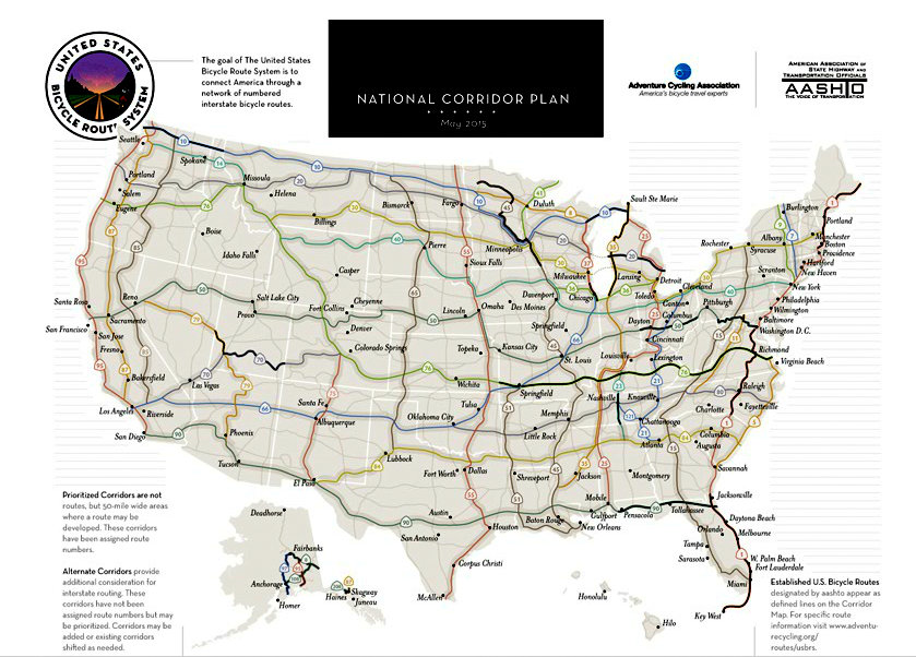 US Bike Route Extends Into Idaho From Washington More USBR - Us map with route numbers