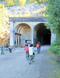 Entering west portal of Snoqualmie Tunnel