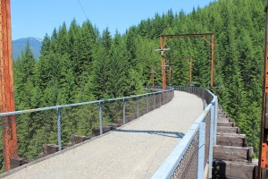 John Wayne Pioneer Trail trestle brushes treetops