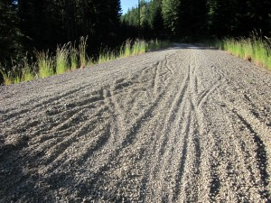 Wide tires will help plow thru deep gravel east of Snoqualmie Tunnel