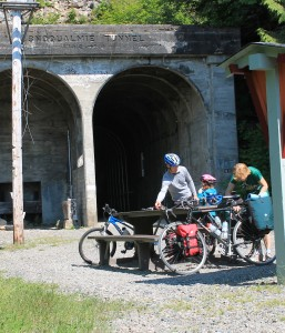 Family at the tunnel entrance