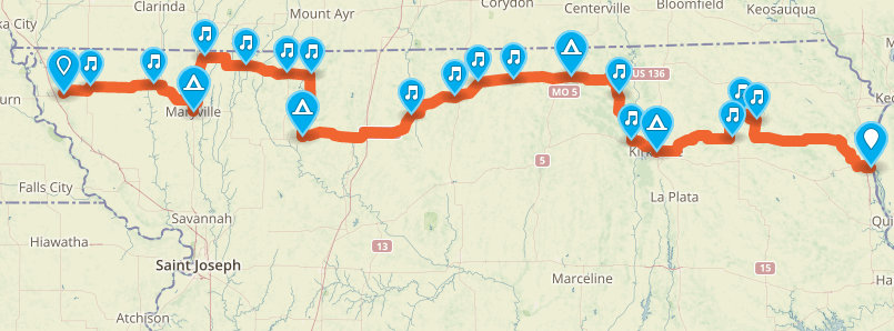 Bike Across Missouri Route Route for the Big BAM
