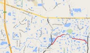 Sarasota area county bans bicycles from road (shown in red; click for larger view)
