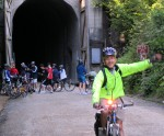 Cyclists emerge from Snoqualmie Tunne;l